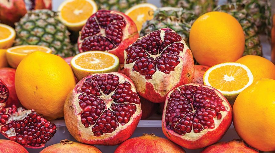 Oranges, pomegranade and pineapple